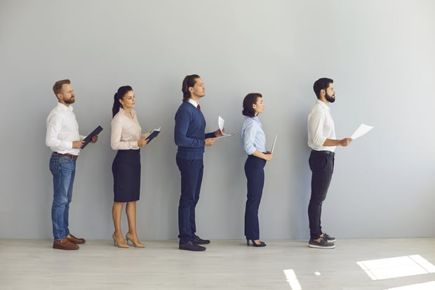job candidates waiting in line