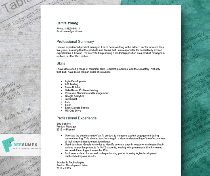 resume sample for a product manager