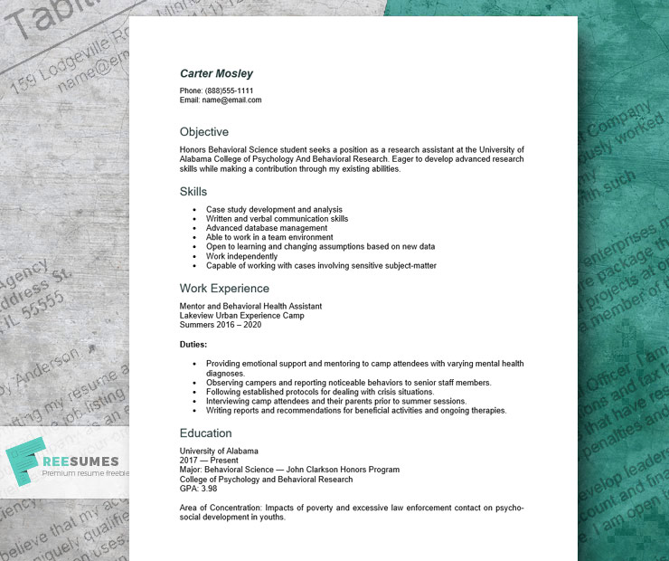undergraduate research assistant resume example