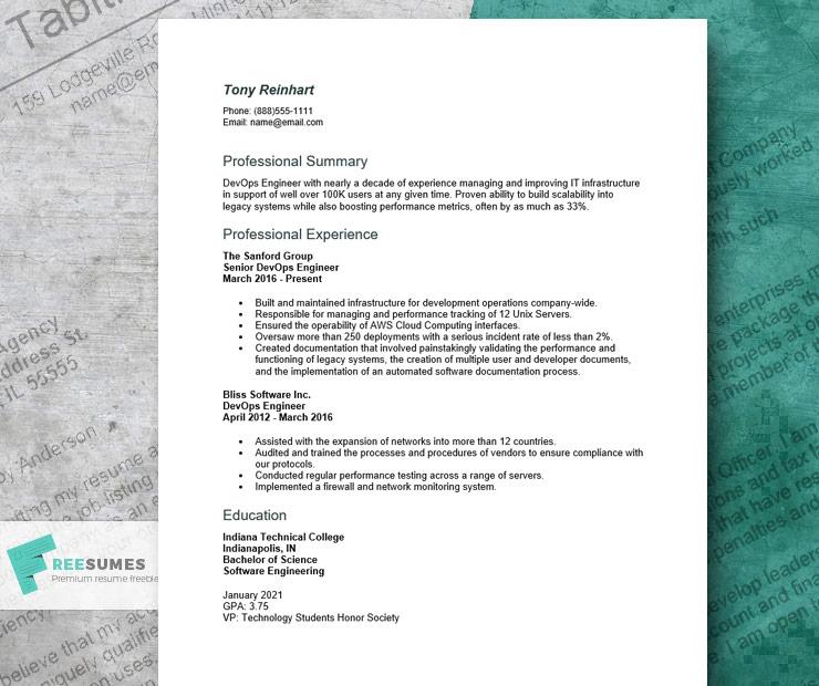 devOps engineer resume example for Word