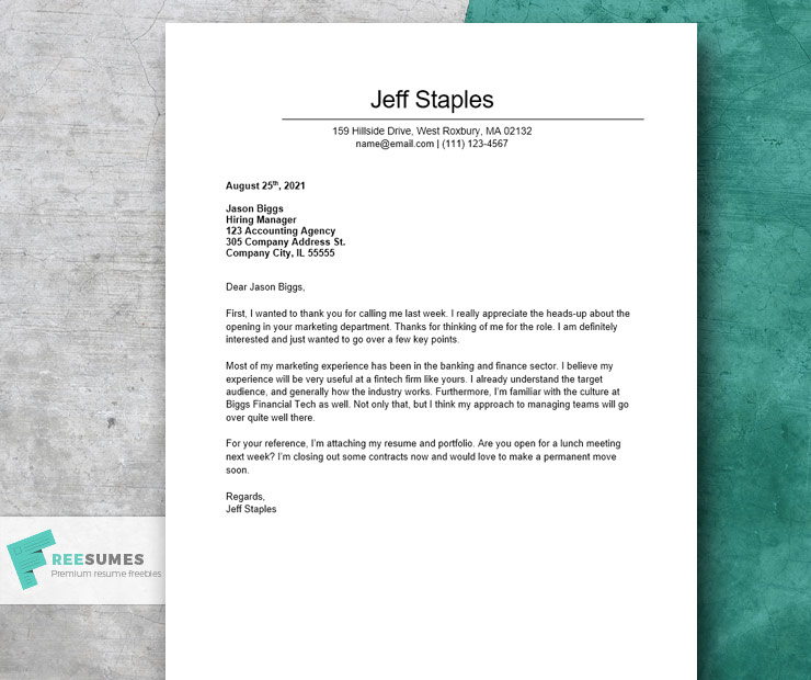 general short cover letter example