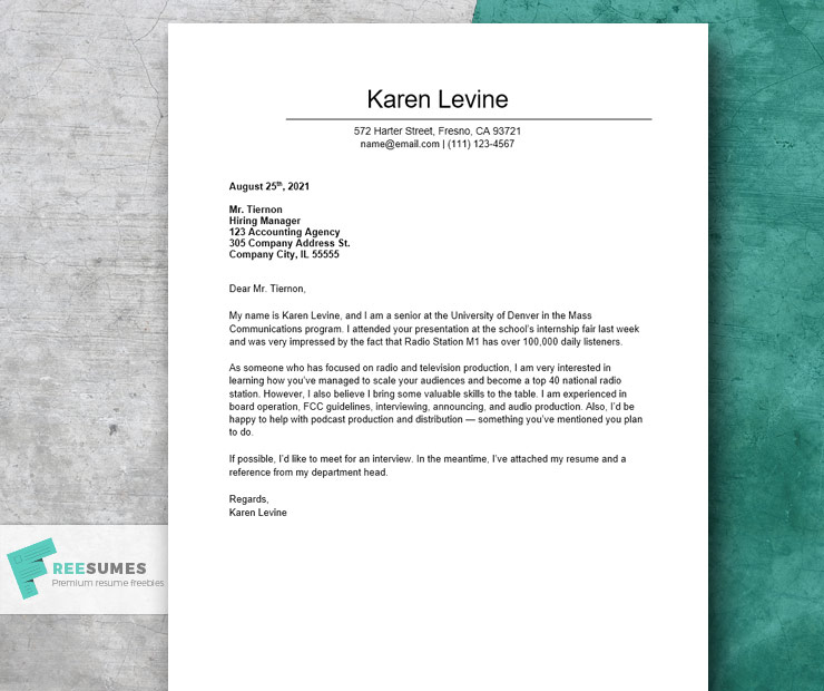 short cover letter example for an internship