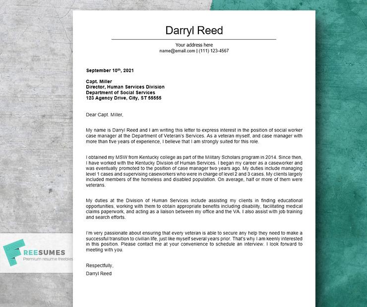 social worker case manager cover letter sample