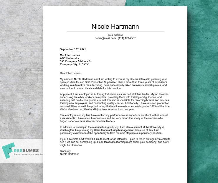 cover letter sample for a supervisor position