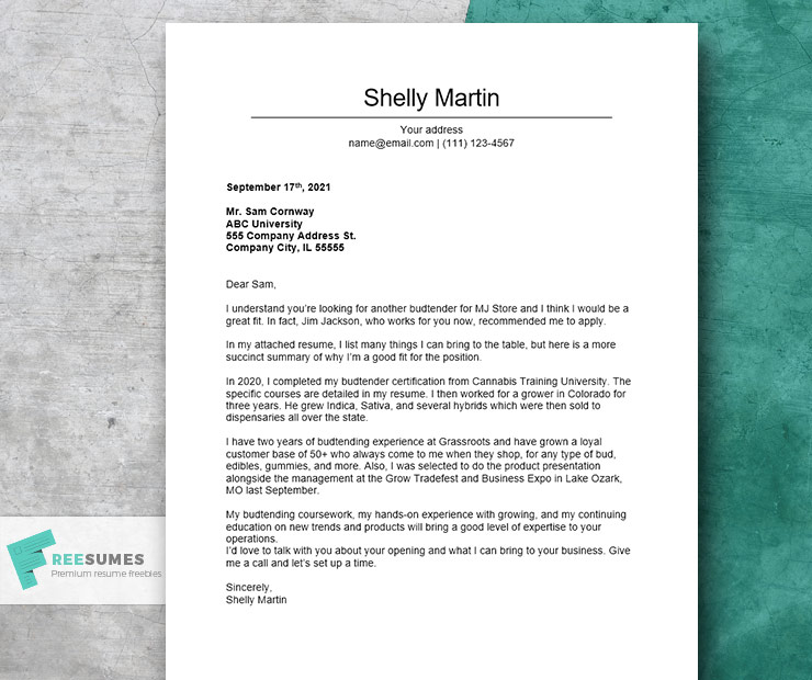 budtender cover letter example for dispensaries job
